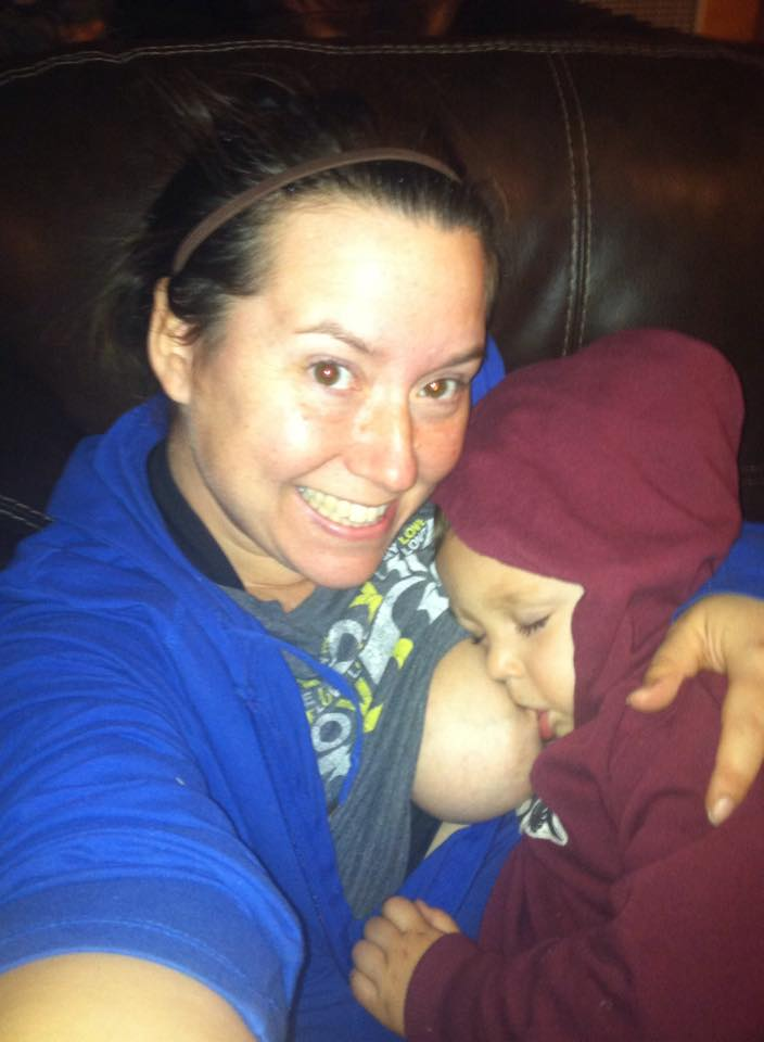 Nursed Truman for 33 months. Tried self weaning, but in the end breast feeding aversion got me good. He would still be nursing if I would let him. He still asks at least a couple times a week. -Amber Hobbins