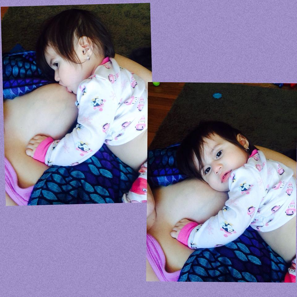 """15 months and following her cues--- which say """"milkies are my favorite"""" - Jessica Treffy"""