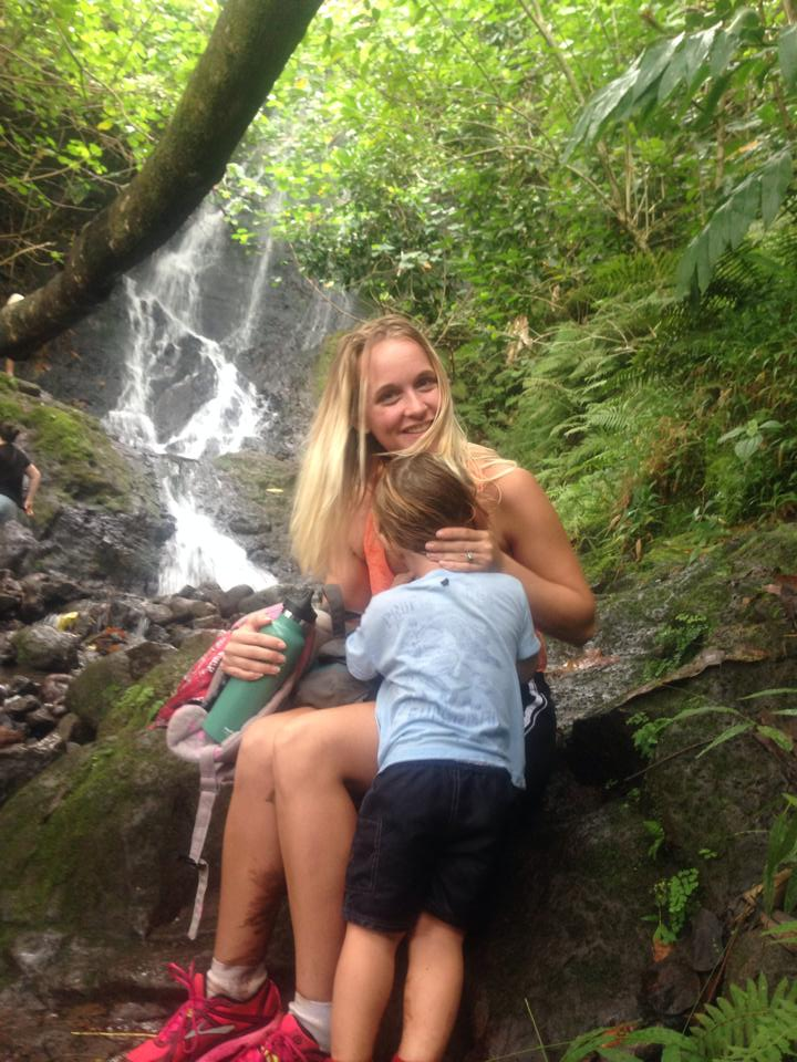 A quick nursing session after a hike to Likeke Falls- Hanna Rose