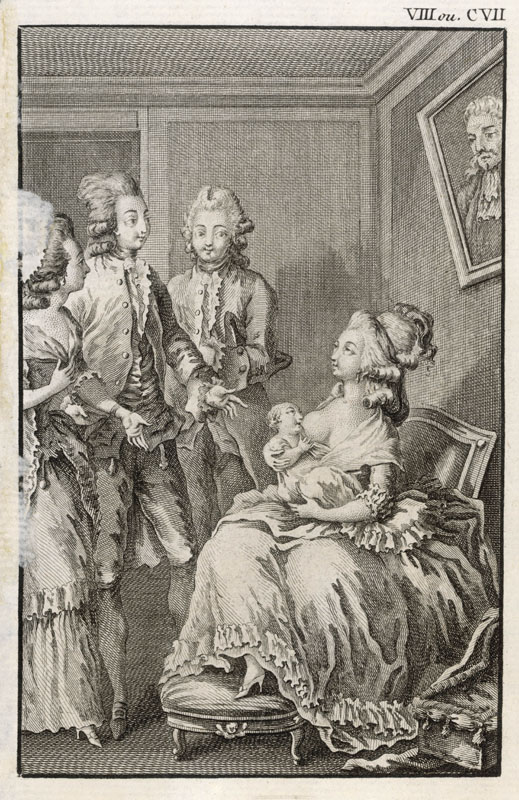 An aristocratic French lady breast feeds her baby in front of visitors. 18th century