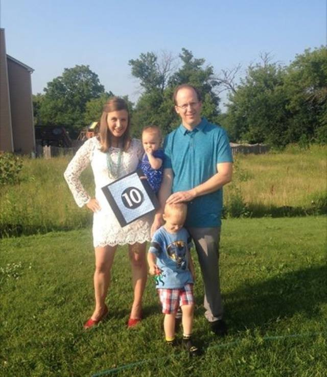 My family celebrating 10s. 10 years of marriage. Baby is 10 months old. And life is good. (And my son wants to run !! Always!) - Jennifer Fronczak Burris