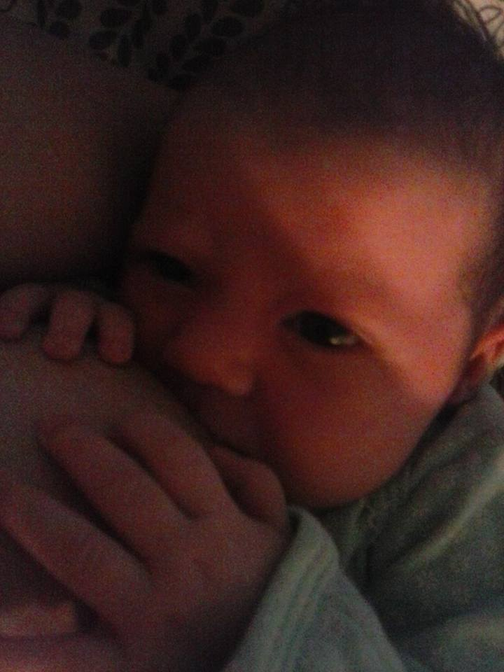 My sweet Little two week old baby. She knows those are her babas. Lol. - Brandi-lee BigJohn