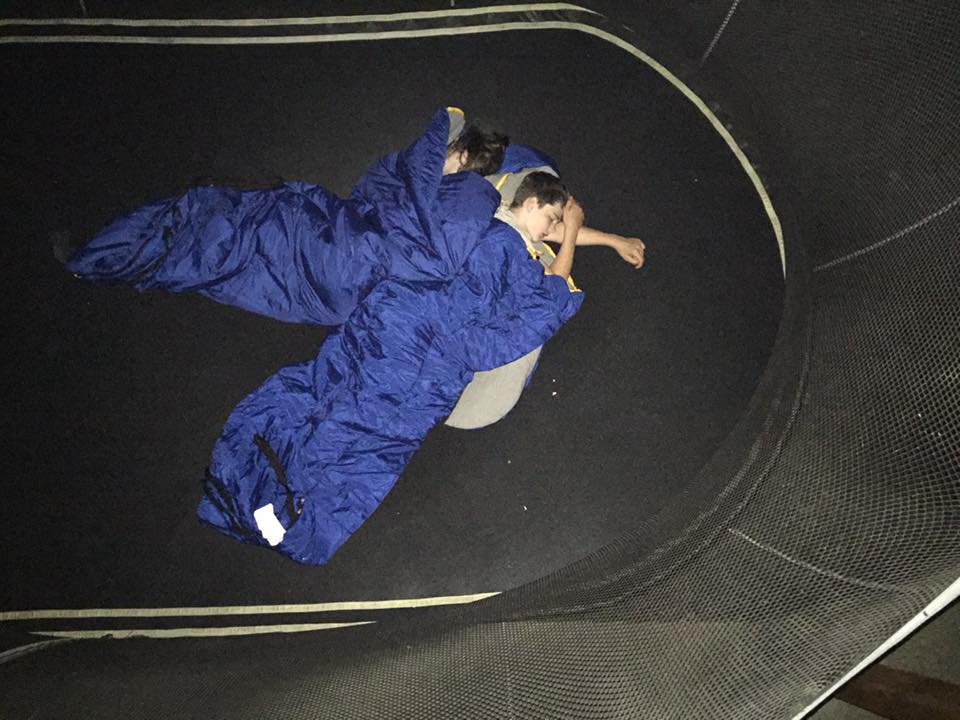 My teenagers asleep outside on the trampoline while my hubby and younger kids sleep in my bed. - Adreia Jessop