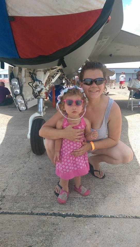 Me and my girl at the local air show in a hat I crocheted for her. She just recently weaned - Kay Ninalee