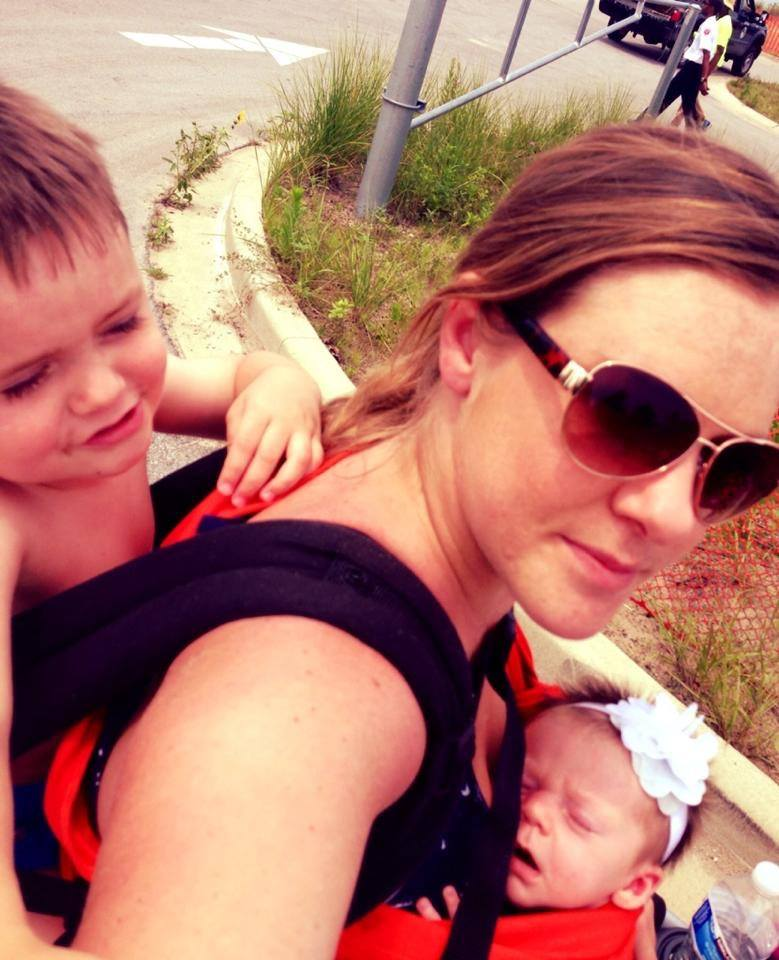 Tandem wearing my 3 year old and 3 week old at the Gary Air Show right outside of Chicago - Mindy Spicer-Czarnecki