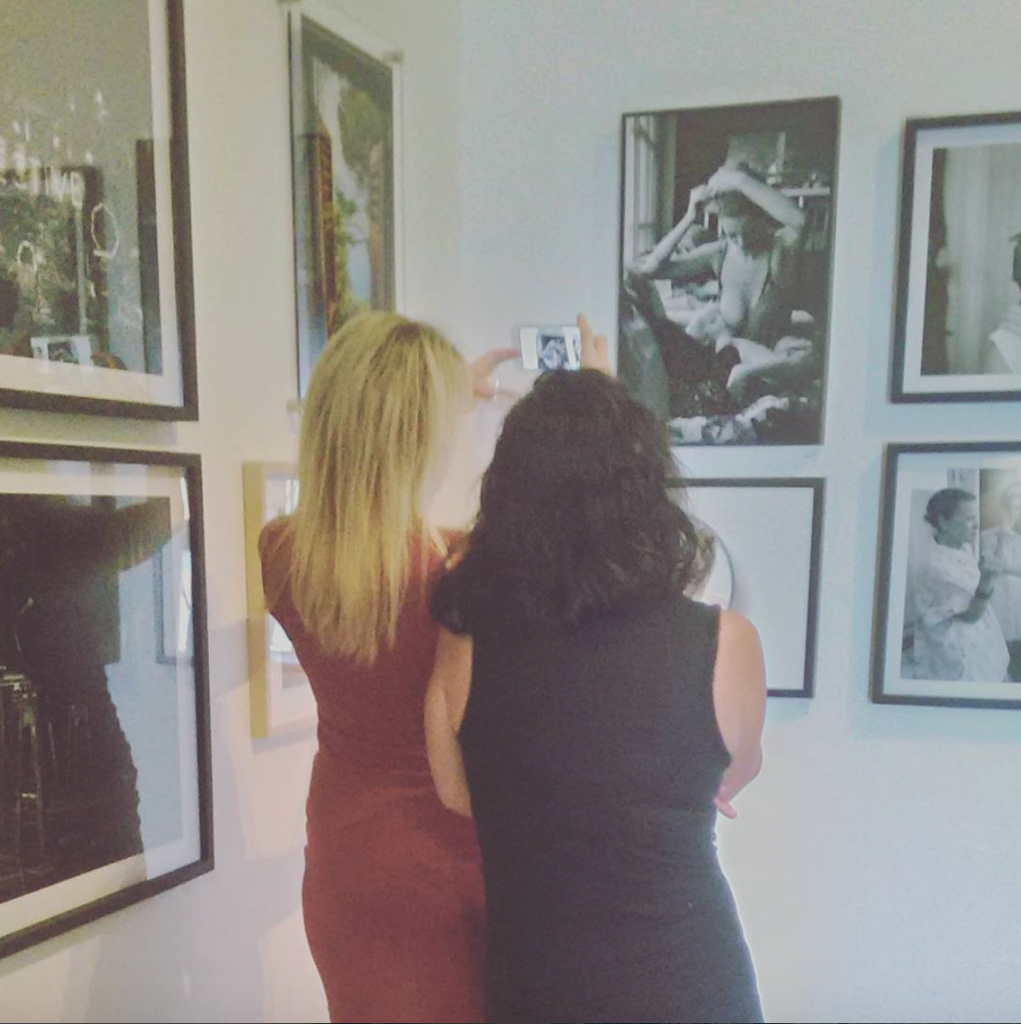 Linn and me admiring her work in the gallery.